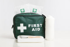First Aid Kit. With bandage, plasters,and wipes isolated on a white background royalty free stock photography