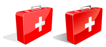 First aid kit. Isolated on white in two variants – with and without gradients Royalty Free Stock Images