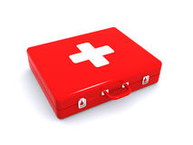 First aid kit. 3d render of a red first aid kit Royalty Free Stock Images
