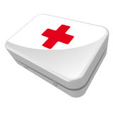 First Aid Kit. White box with a red cross on it Stock Illustration