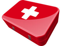 First Aid Kit. Red box with a red cross on it Stock Illustration