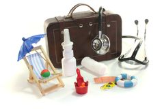 First aid kit. With Bags, Stethoscope and medicines Stock Photos