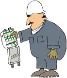 First Aid Kit. This illustration depicts a workman holding a first aid kit that contains nothing but boxes of antiseptic soap Royalty Free Stock Images