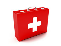 First aid kit. Red suitcase isolated on white background Royalty Free Stock Photography