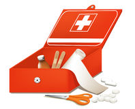 First Aid Kit. Box with medical accessories for first help Stock Image
