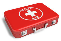 First aid kit. Red first aid kit case isolated on white background Royalty Free Stock Photography