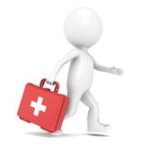 First Aid Kit. 3D little human character running with a First Aid Kit Royalty Free Stock Photos