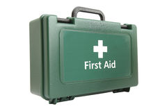 First aid kit. Green first aid kit box isolated Stock Images