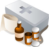 First aid kit. And its contents including pills and bandages Stock Image