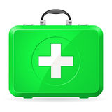 First aid kit. Green First Aid kit. Illustration on white Royalty Free Stock Images