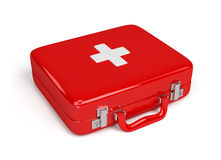 First aid kit. Red first aid kit. 3d image. White background Stock Images