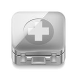 First-aid kit. Icon of metal first-aid kit on white background Stock Photo