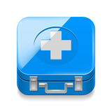 First-aid kit. Icon of blue first-aid kit on white background Royalty Free Stock Photo