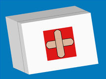 First aid kit. First aid box with crossed bandaid logo on the front - vector Stock Photography