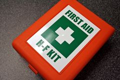 First Aid Kit. In the laboratory stock image