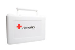 First Aid Kit. A white first aid kit with the universal red cross symbol Stock Photography