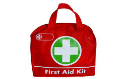 First aid kit. Red first aid kit isolated on white Royalty Free Stock Photography