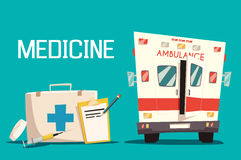 First aid kit and ambulance car, syringe, pill. First aid kit and ambulance car, syringe and pill. Emergency medical service for patient and diagnosis sheet of Royalty Free Stock Image
