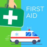 First aid kit bag carried in hand, green cross and ambulance car. Emergency medical service icon illustration Royalty Free Stock Photos