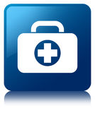 First aid kit bag icon blue square button. First aid kit bag icon isolated on blue square button reflected abstract illustration Stock Photos