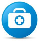 First aid kit bag icon cyan blue round button. First aid kit bag icon isolated on cyan blue round button abstract illustration Stock Photos