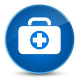 First aid kit bag icon elegant blue round button. First aid kit bag icon isolated on elegant blue round button abstract illustration Stock Images
