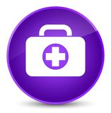 First aid kit bag icon elegant purple round button. First aid kit bag icon isolated on elegant purple round button abstract illustration Stock Images