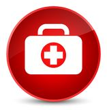 First aid kit bag icon elegant red round button. First aid kit bag icon isolated on elegant red round button abstract illustration Royalty Free Stock Images