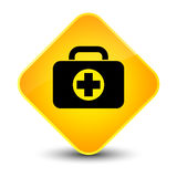 First aid kit bag icon elegant yellow diamond button. First aid kit bag icon isolated on elegant yellow diamond button abstract illustration Stock Image