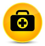 First aid kit bag icon elegant yellow round button. First aid kit bag icon isolated on elegant yellow round button abstract illustration Royalty Free Stock Images