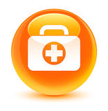 First aid kit bag icon glassy orange round button. First aid kit bag icon isolated on glassy orange round button abstract illustration Stock Photography