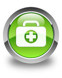 First aid kit bag icon glossy green round button. First aid kit bag icon isolated on glossy green round button abstract illustration Royalty Free Stock Photo