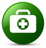 First aid kit bag icon green round button. First aid kit bag icon isolated on green round button abstract illustration Royalty Free Stock Image