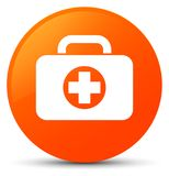 First aid kit bag icon orange round button. First aid kit bag icon isolated on orange round button abstract illustration Royalty Free Stock Images