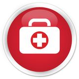 First aid kit bag icon premium red round button. First aid kit bag icon isolated on premium red round button abstract illustration Royalty Free Stock Photos