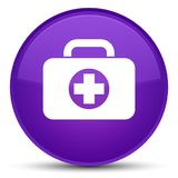 First aid kit bag icon special purple round button. First aid kit bag icon isolated on special purple round button abstract illustration Royalty Free Stock Photos