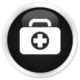 First aid kit bag icon premium black round button. First aid kit bag icon isolated on premium black round button abstract illustration Royalty Free Stock Photo