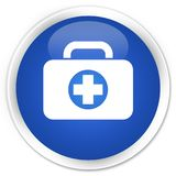 First aid kit bag icon premium blue round button. First aid kit bag icon isolated on premium blue round button abstract illustration Royalty Free Stock Image