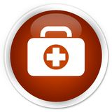 First aid kit bag icon premium brown round button. First aid kit bag icon isolated on premium brown round button abstract illustration Stock Photography