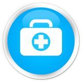 First aid kit bag icon premium cyan blue round button. First aid kit bag icon isolated on premium cyan blue round button abstract illustration Royalty Free Stock Images