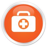 First aid kit bag icon premium orange round button. First aid kit bag icon isolated on premium orange round button abstract illustration Stock Photography