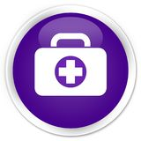 First aid kit bag icon premium purple round button. First aid kit bag icon isolated on premium purple round button abstract illustration Stock Image