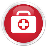 First aid kit bag icon premium red round button. First aid kit bag icon isolated on premium red round button abstract illustration Stock Photo