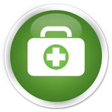 First aid kit bag icon premium soft green round button. First aid kit bag icon isolated on premium soft green round button abstract illustration Stock Images