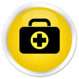 First aid kit bag icon premium yellow round button. First aid kit bag icon isolated on premium yellow round button abstract illustration Stock Images