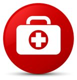 First aid kit bag icon red round button. First aid kit bag icon  on red round button abstract illustration Stock Photos