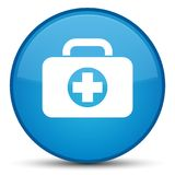 First aid kit bag icon special cyan blue round button. First aid kit bag icon isolated on special cyan blue round button abstract illustration Royalty Free Stock Photos