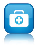 First aid kit bag icon special cyan blue square button. First aid kit bag icon isolated on special cyan blue square button reflected abstract illustration Royalty Free Stock Image