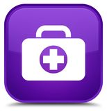 First aid kit bag icon special purple square button. First aid kit bag icon isolated on special purple square button abstract illustration Stock Photography