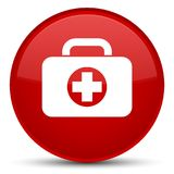 First aid kit bag icon special red round button. First aid kit bag icon isolated on special red round button abstract illustration Stock Photo